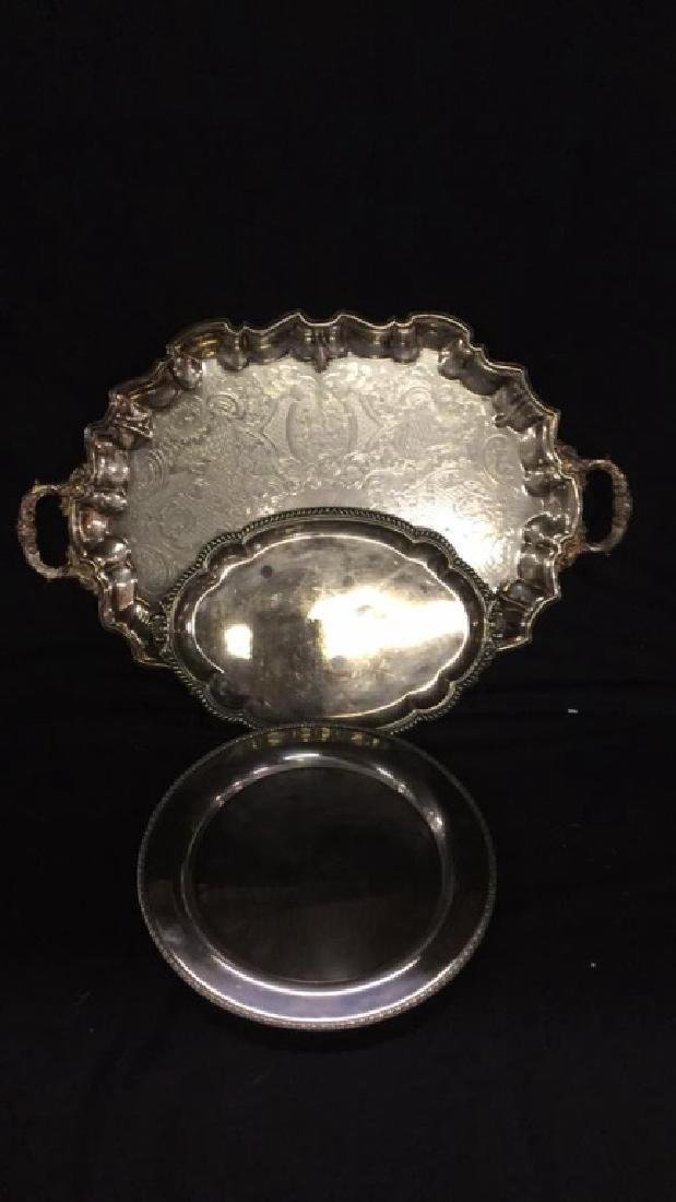 Bristol silverplate tray with two additional trays