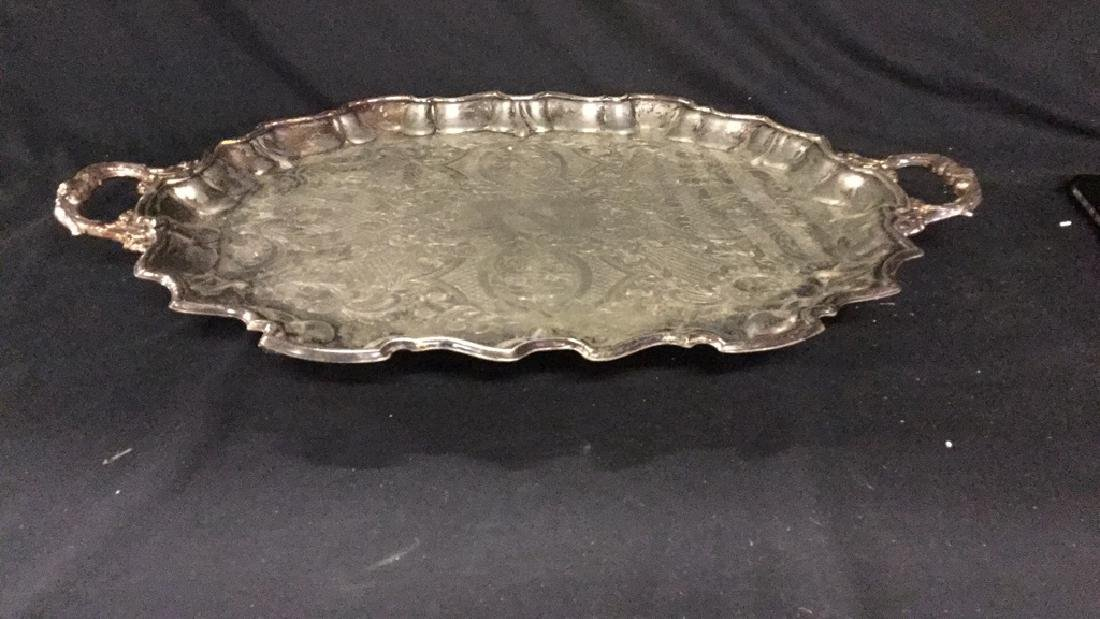 Bristol silverplate tray with two additional trays - 2