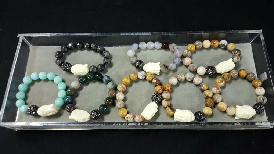 Stone and glass Asian bracelets