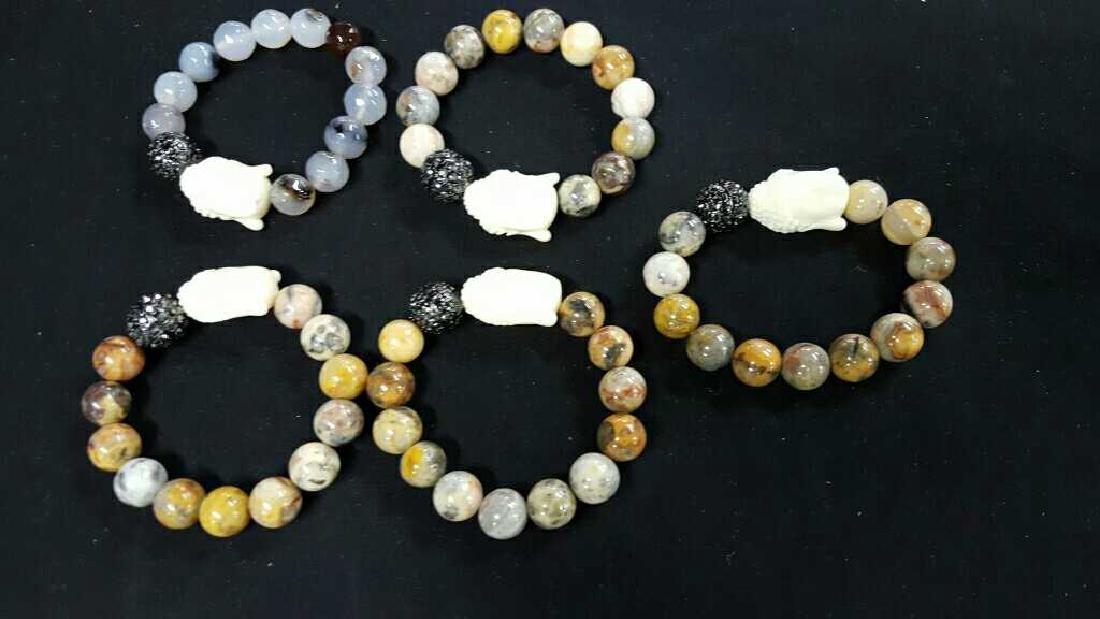 Stone and glass Asian bracelets - 4
