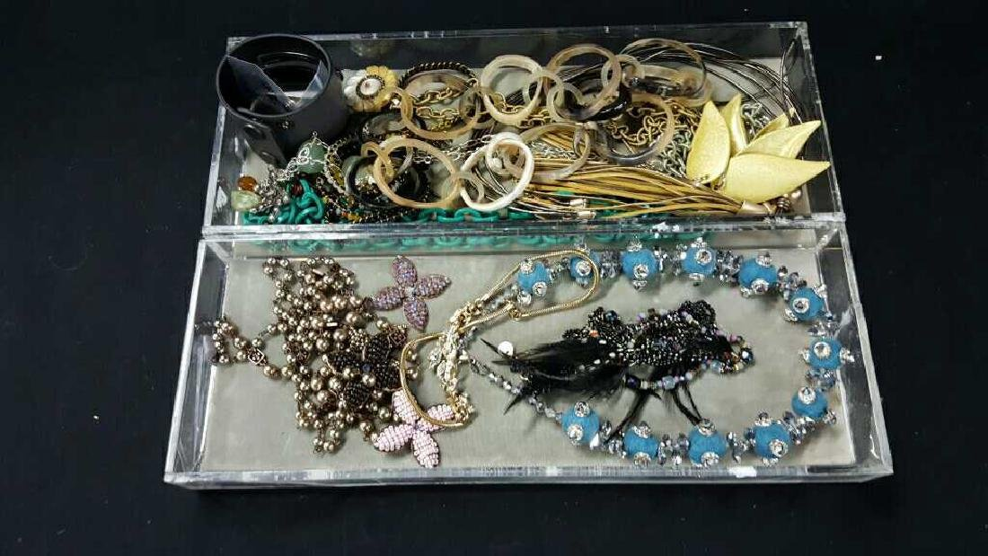 Two trays of Miscellaneous costume jewelry