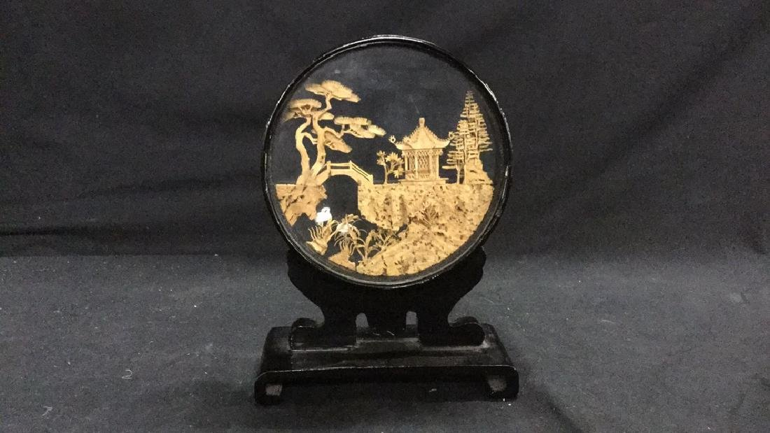 Collection of vintage Asian cork carving dioramas - 10