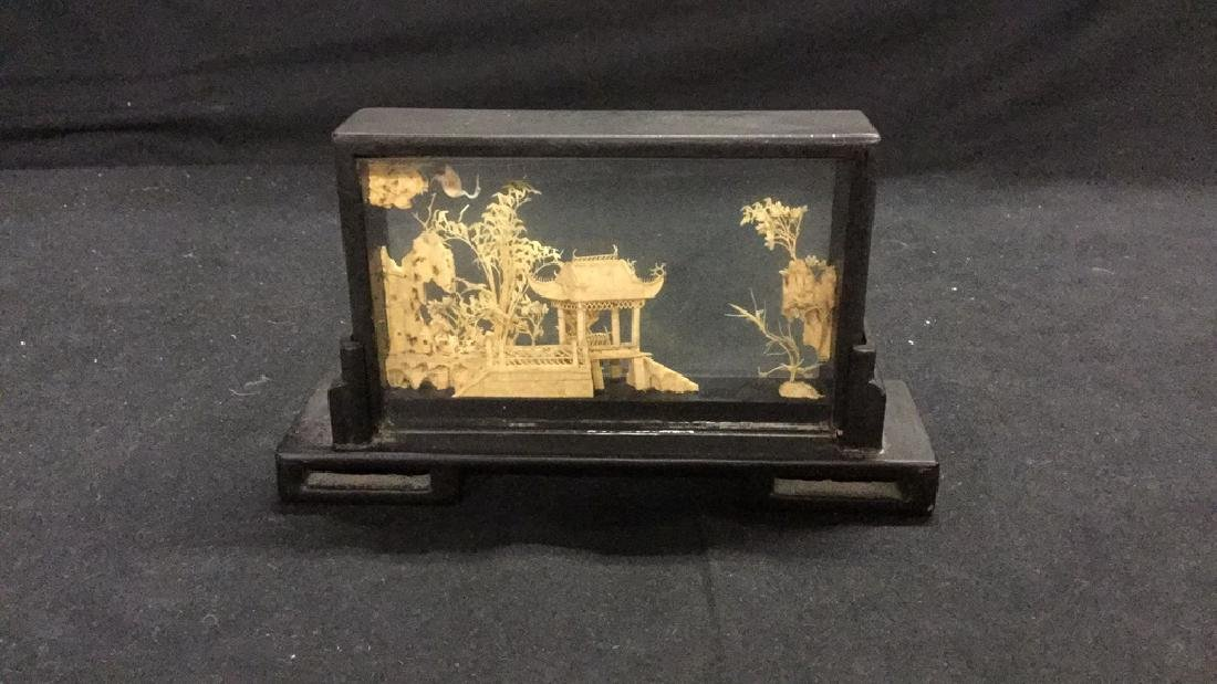 Collection of vintage Asian cork carving dioramas - 2
