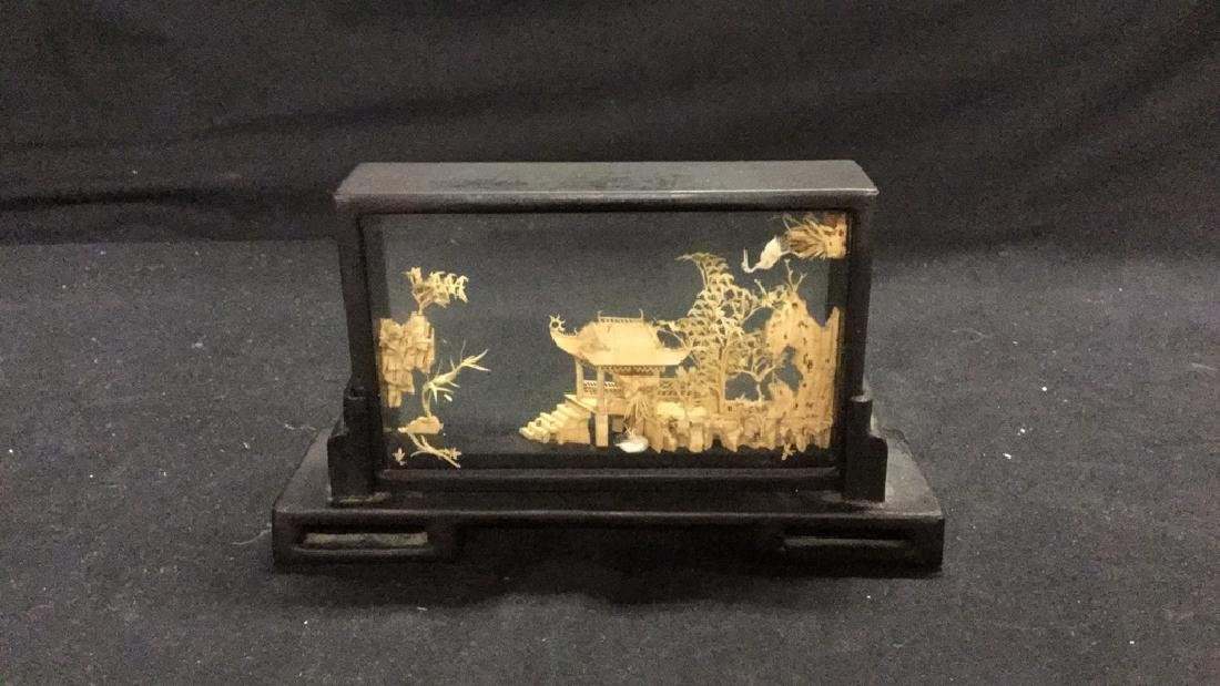 Collection of vintage Asian cork carving dioramas - 3
