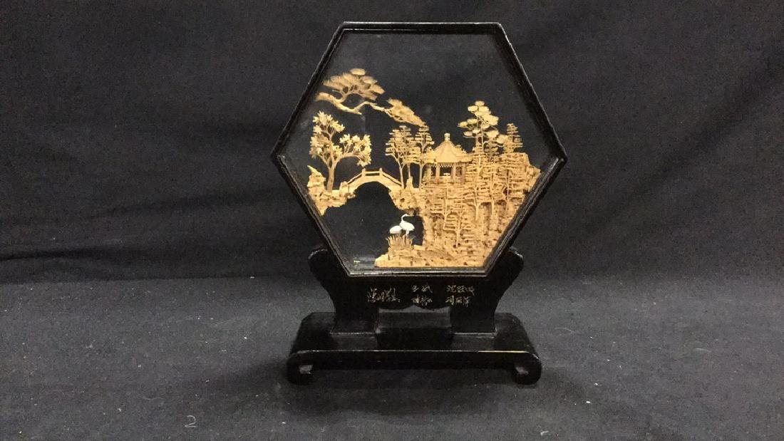 Collection of vintage Asian cork carving dioramas - 4