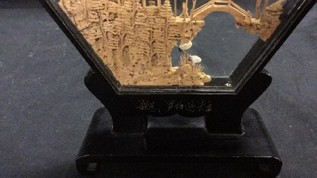 Collection of vintage Asian cork carving dioramas - 6