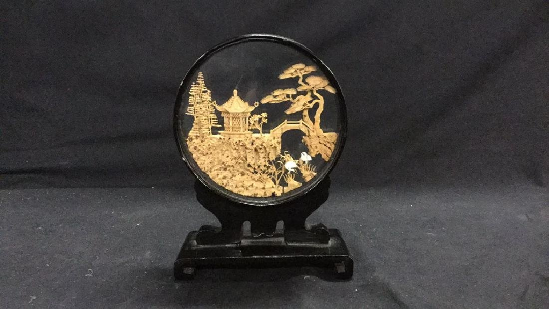 Collection of vintage Asian cork carving dioramas - 9