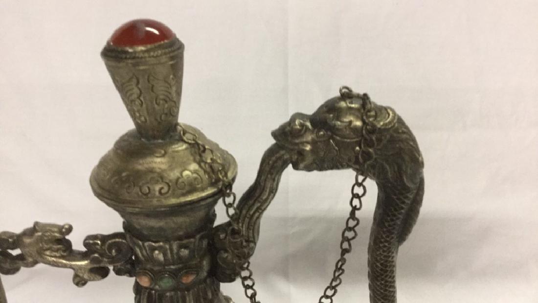 Vintage decorative teapot and 2 brass eggs - 2
