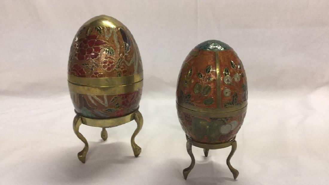 Vintage decorative teapot and 2 brass eggs - 8