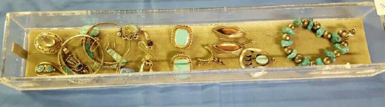 Tray of sterling silver and turquoise jewelry