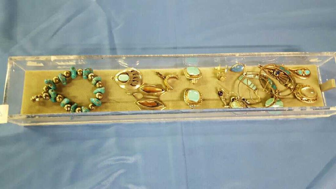 Tray of sterling silver and turquoise jewelry - 2