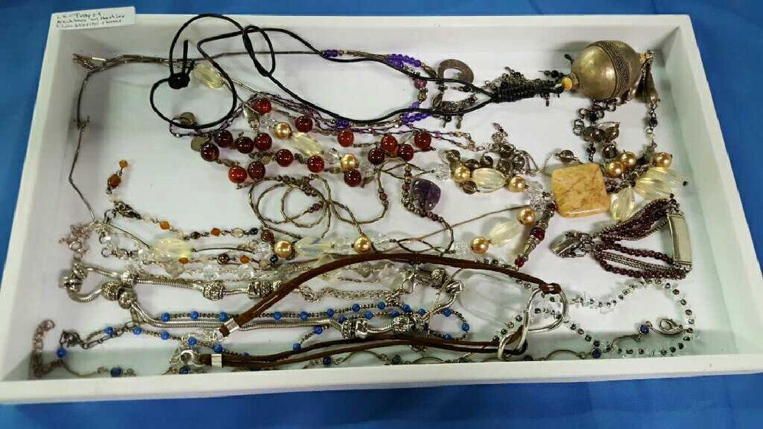 Tray of necklaces w/sterling & various jewelry
