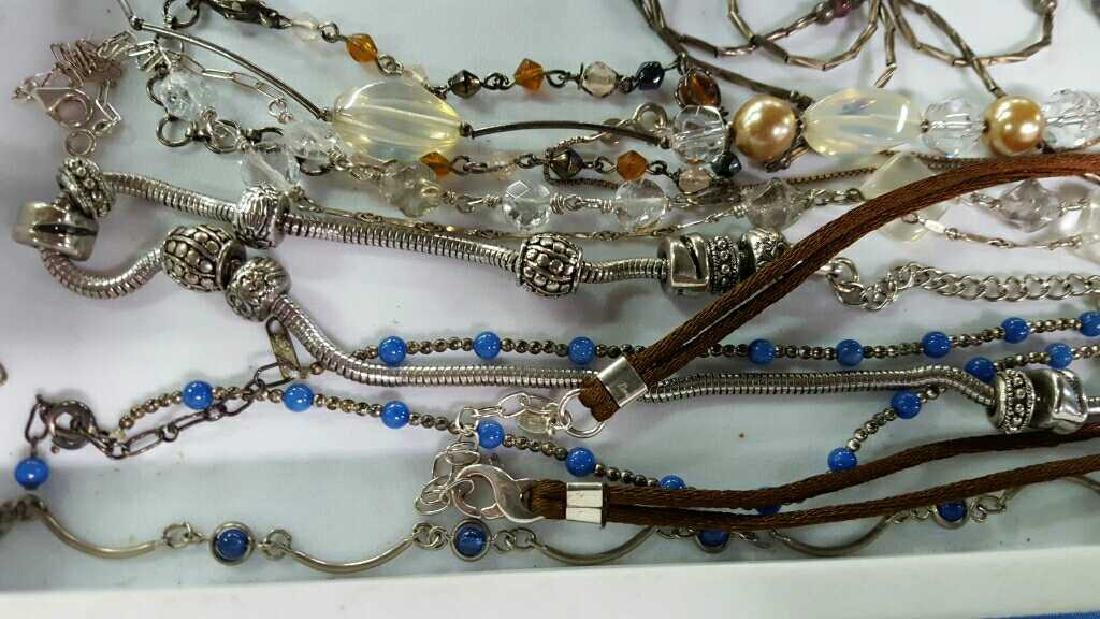 Tray of necklaces w/sterling & various jewelry - 2