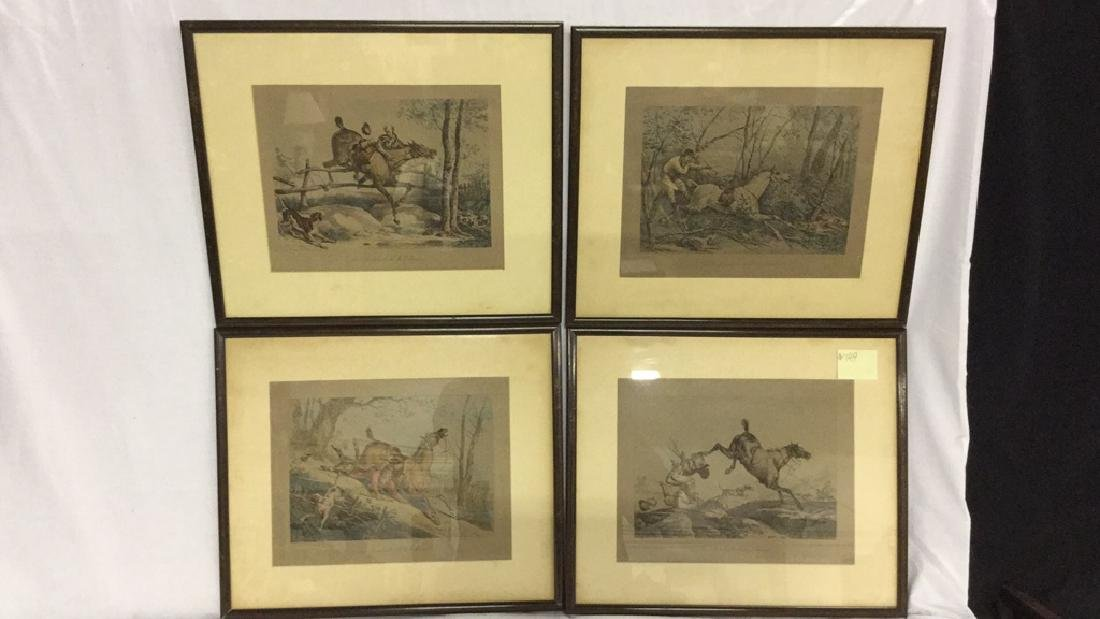 Four framed hunt scene engravings