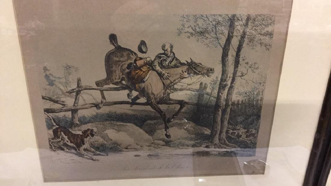 Four framed hunt scene engravings - 4