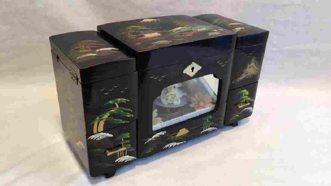 Black Lacquer Asian Jewelry Music Box