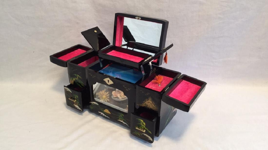 Black Lacquer Asian Jewelry Music Box - 2