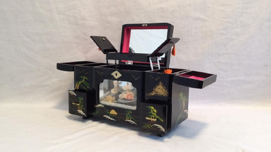 Black Lacquer Asian Jewelry Music Box - 3