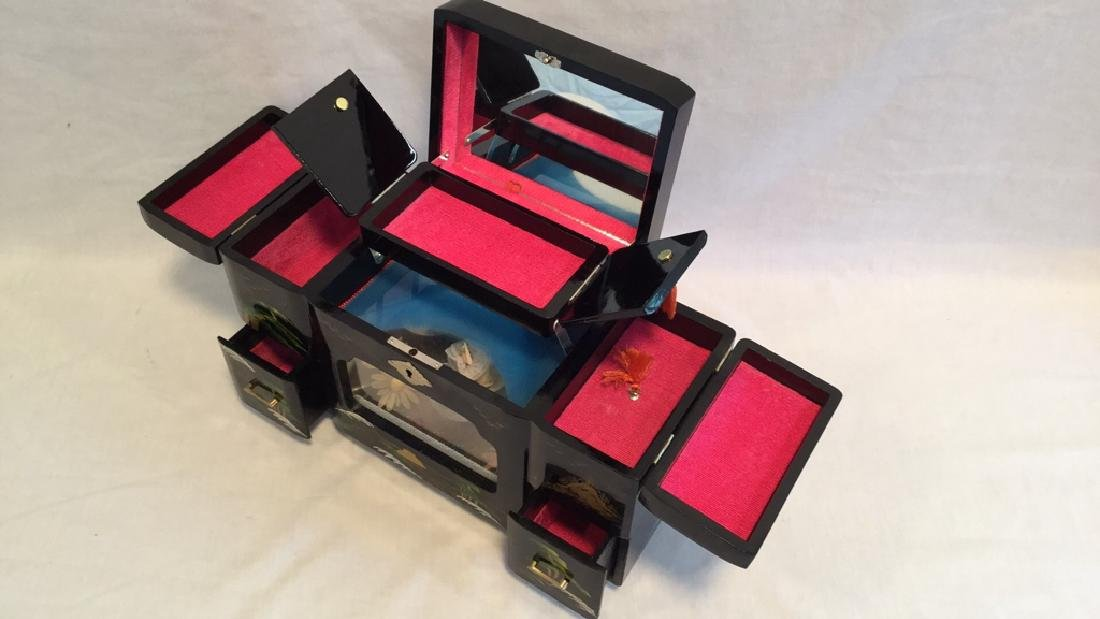 Black Lacquer Asian Jewelry Music Box - 4
