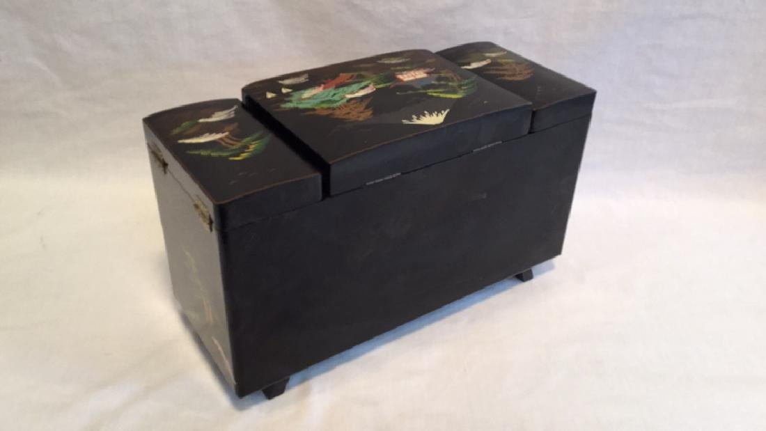 Black Lacquer Asian Jewelry Music Box - 6