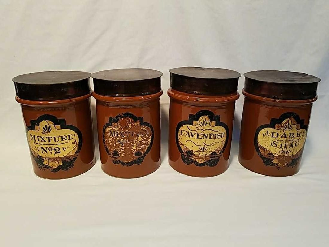 Four H. F. & Sons London stoneware tobacco jars