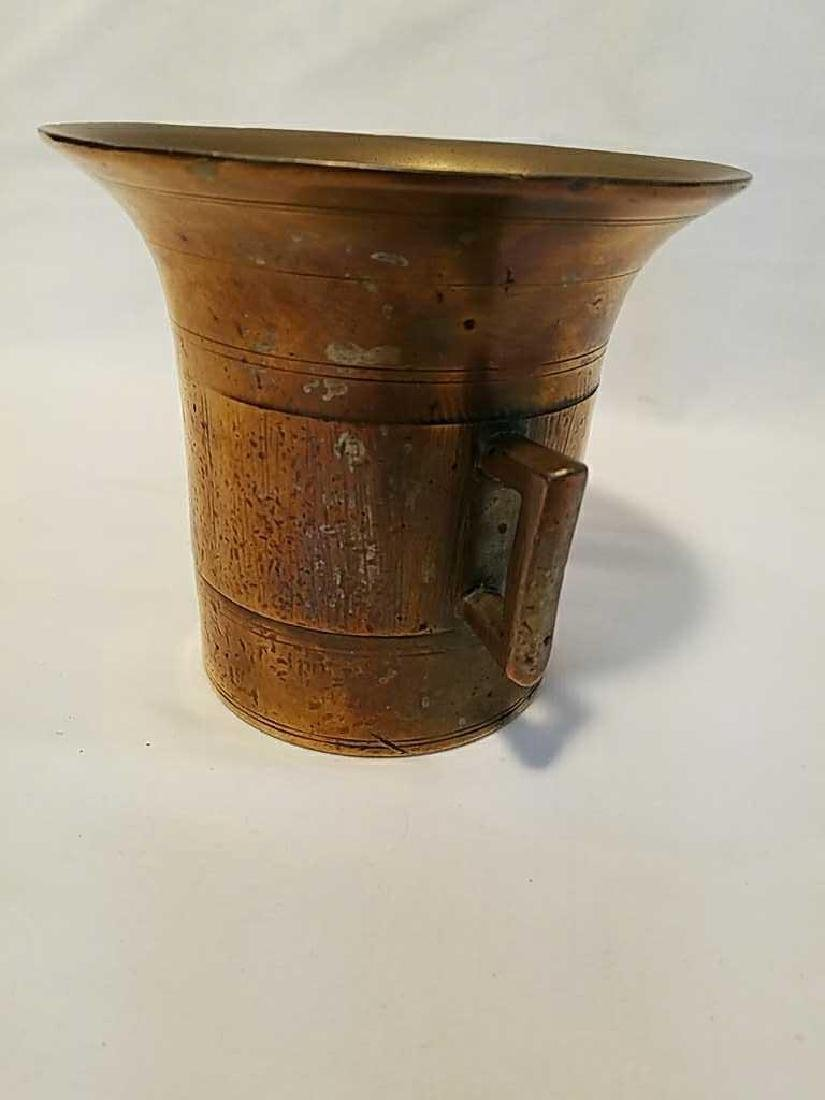 Antique Solid Brass Apothecary Mortar and Pestle - 5