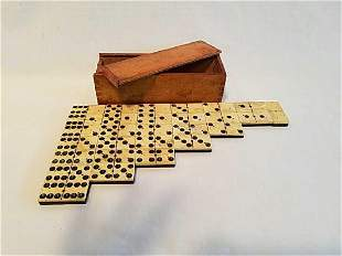 Antique 1800's Ebony Wood American Dominoes