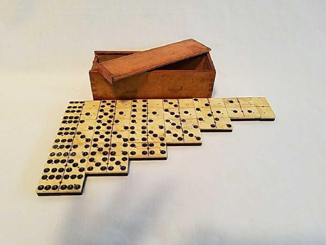 Antique 1800's Ebony Wood American Dominoes