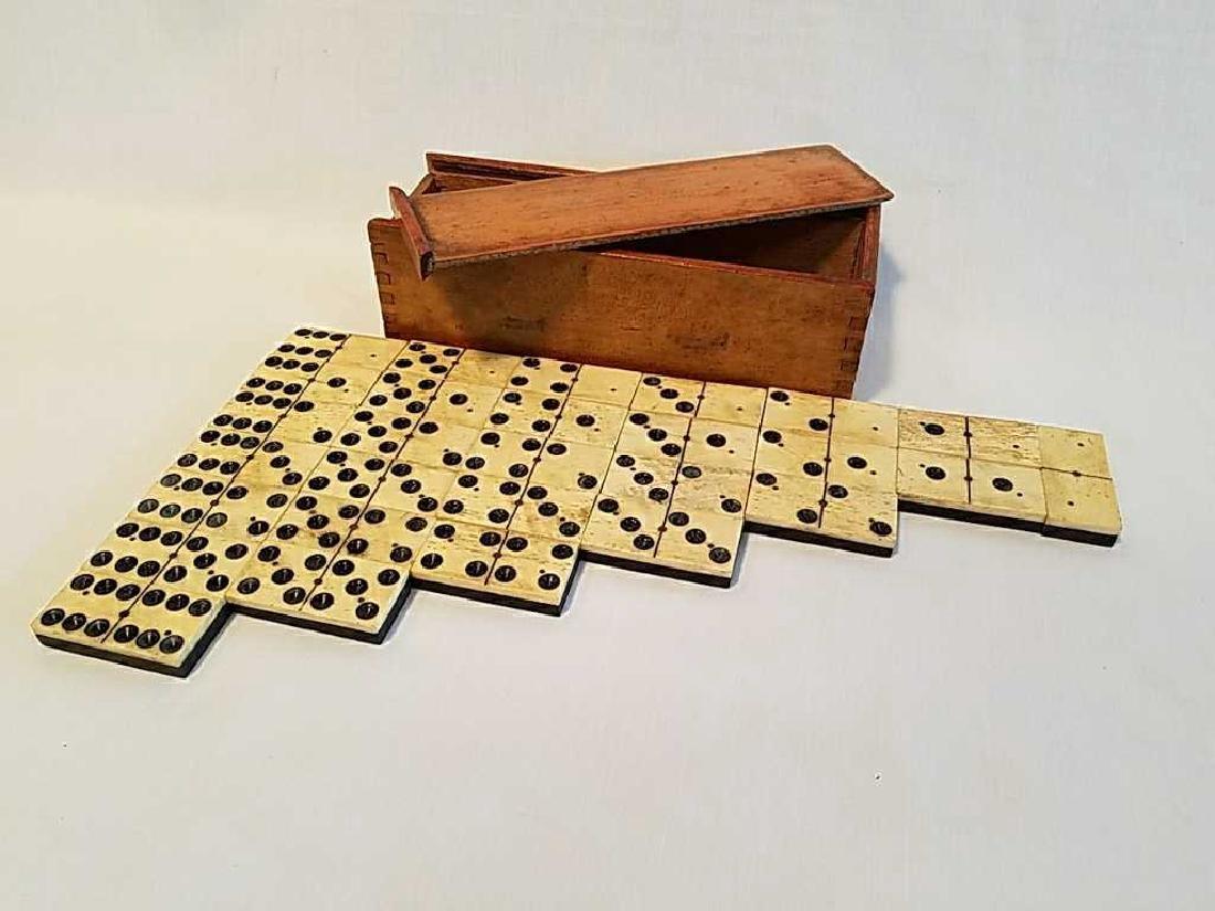 Antique 1800's Ebony Wood American Dominoes - 2