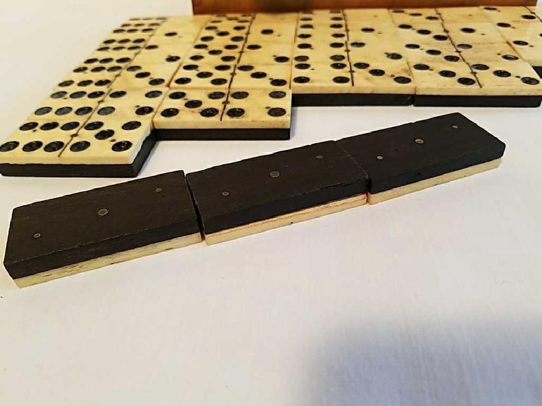 Antique 1800's Ebony Wood American Dominoes - 3