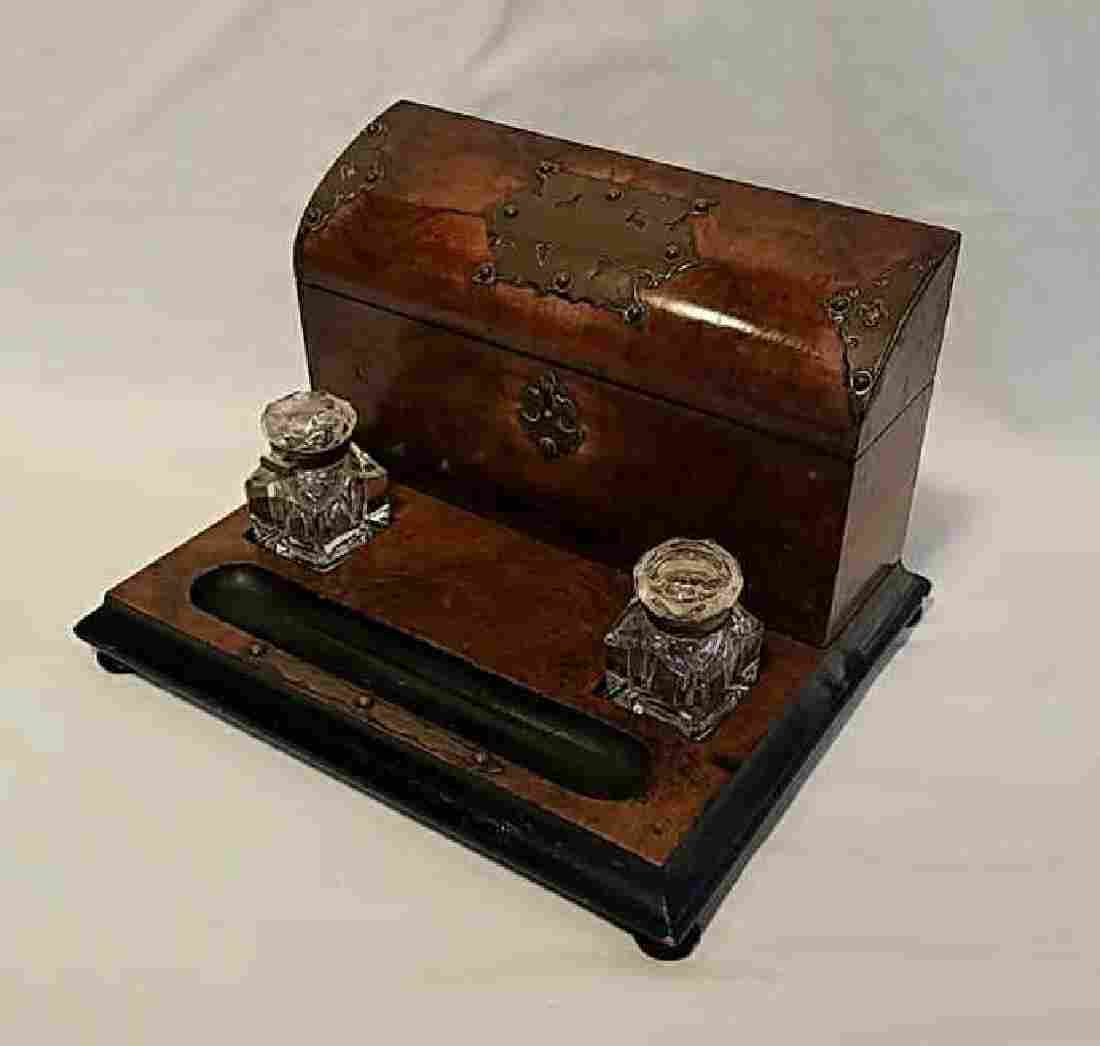 English Desk Set with Inkwells and Stationery Box