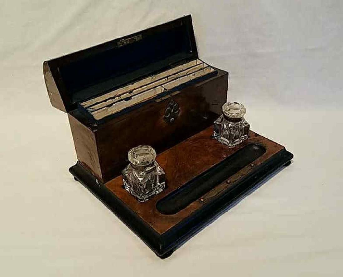 English Desk Set with Inkwells and Stationery Box - 2