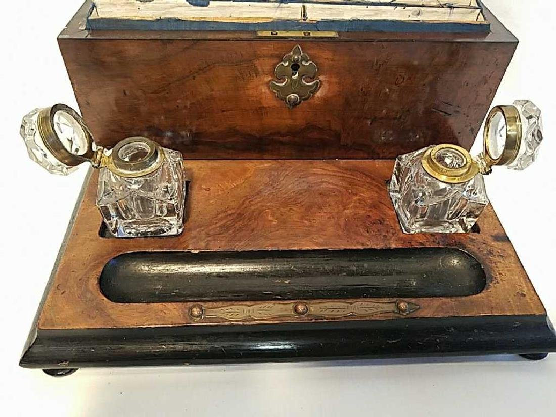 English Desk Set with Inkwells and Stationery Box - 3