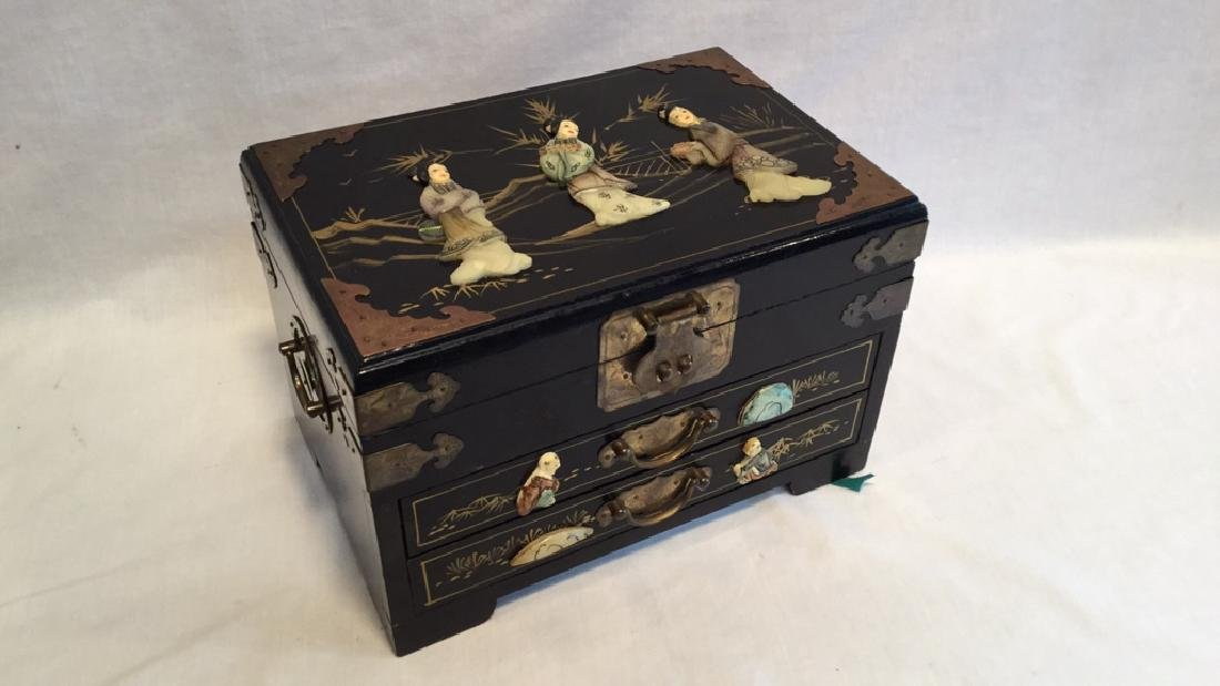 Black lacquer jewelry box with Jade/Bone figures
