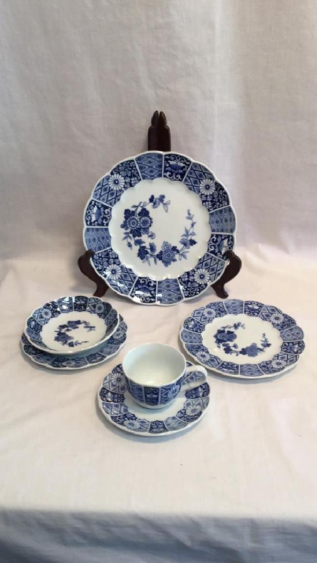 Blue Imari china set of six with extra pieces - 3