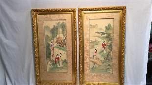 Two Gold Framed silk Japanese scrolls