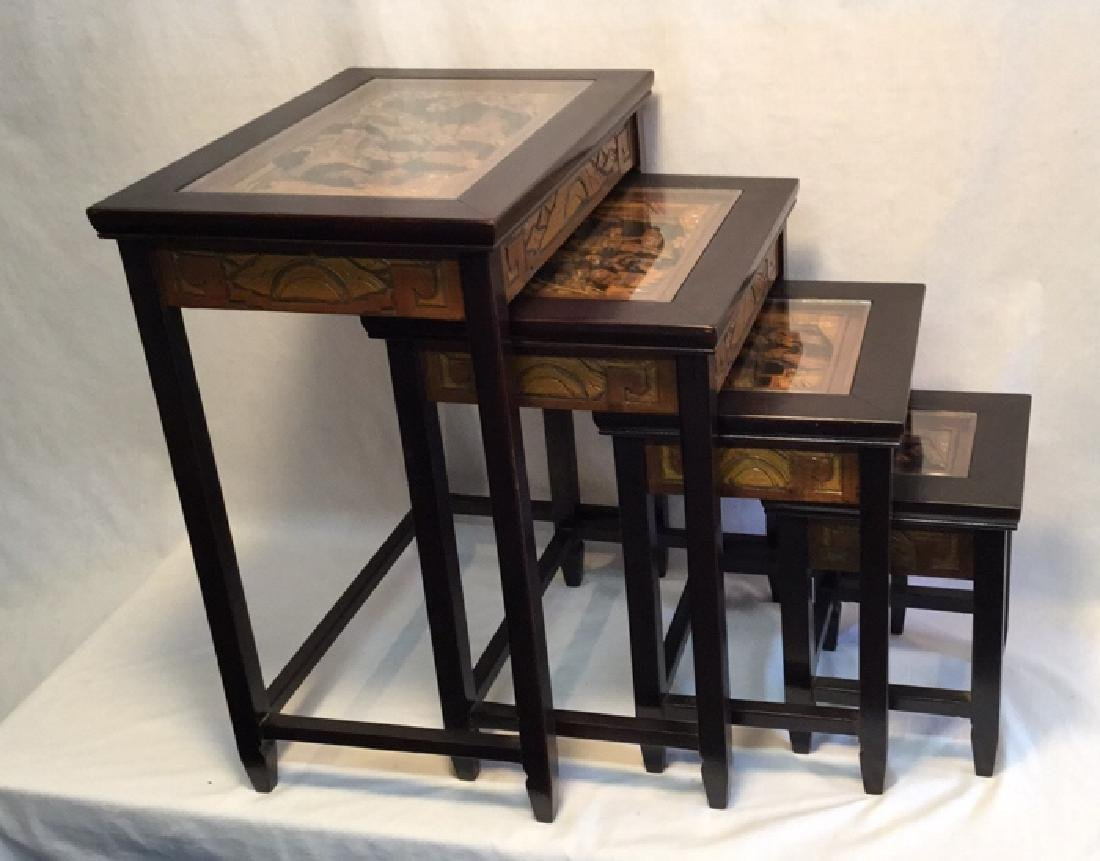 Asian wood nesting table