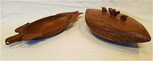 New Guinea Wood carved bowl with lid and tray.