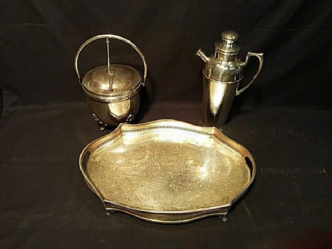 Silver plate rimmed tray, ice bucket & shaker