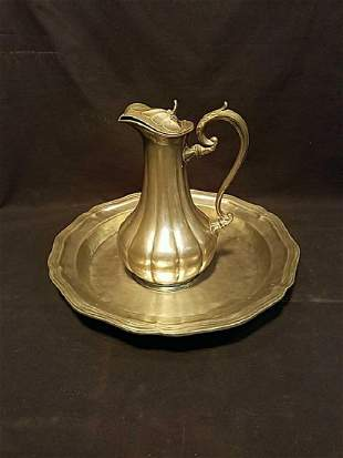 Pewter handled pitcher and tray