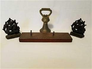 Cribbage board, Brass weight, & Ship bookends