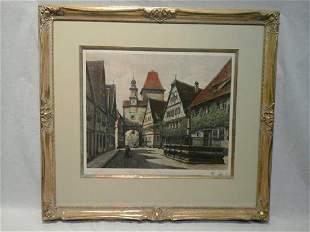 Ernst Geissendorfer etching of St Marks Tower