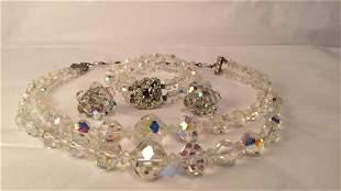 Antique Russian Crystal Earrings,Necklace,Bracelet