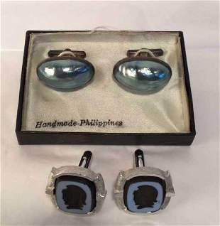 Mother of Pearl and Sparten Cameo Cufflinks
