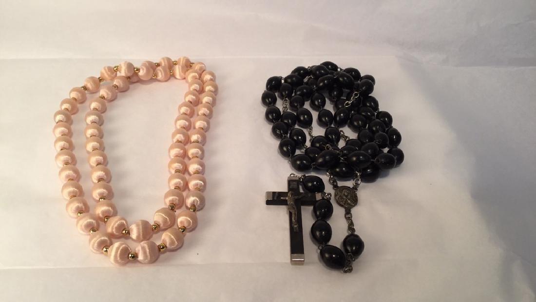 Silk Necklace and Black Irish Rosary Beads