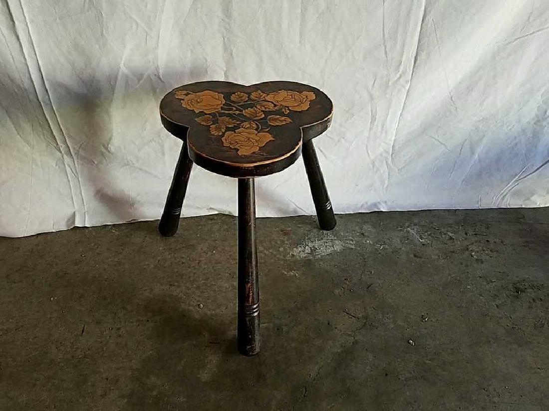 Three leg stenciled milking stool
