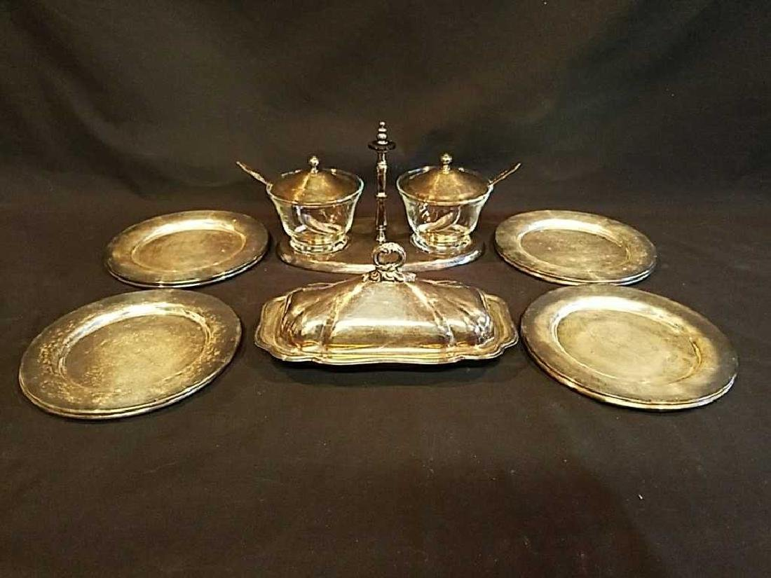 Vintage SP Butter Dish, Condiment set, & 8 plates