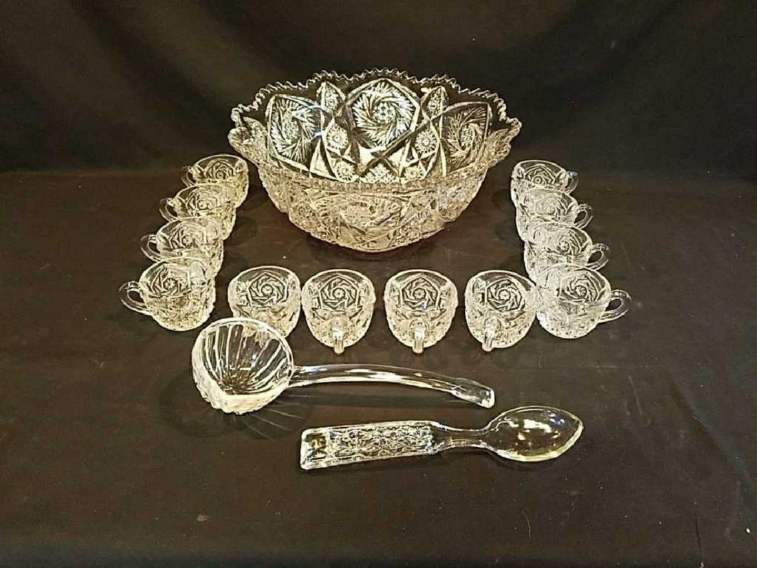 Cut Glass Punch bowl set with ladle & 12 cups