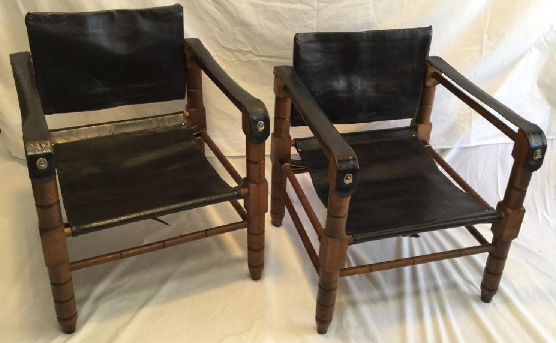 """$ Lowered"" PAIR OF RARE MID-CENTURY SAFARI CHAIRS"