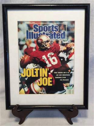 Joe Montana Framed Signed S.I. Magazine Oct '89